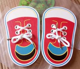 可愛木製平板系鞋帶